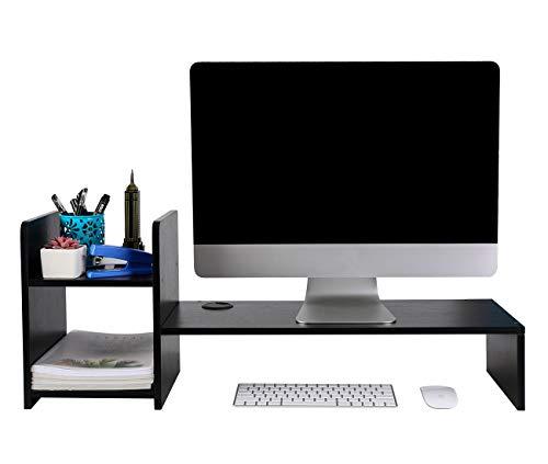 PAG Desktop Bookshelf Monitor Printer Stand Computer Riser Wood Desk Organizer for HomeOfficeSchool Black