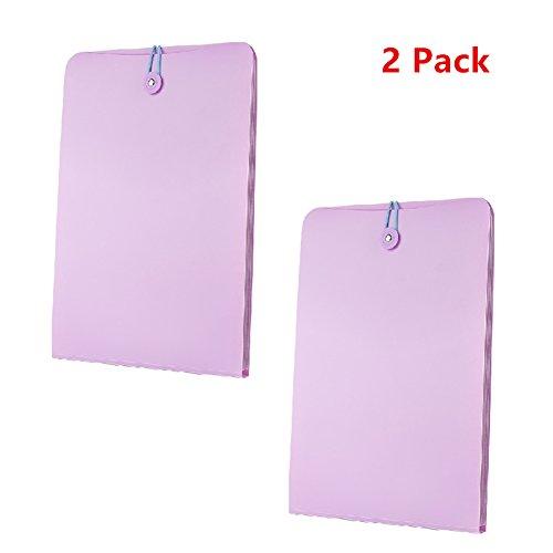 Doptou 2 Pack A4 Size File Document Organizer Holder 7-Pockets Expanding File Folder Purple