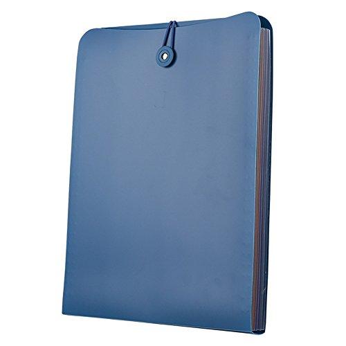 Doptou 7-Pockets Expanding File Folder A4 Size File Document Organizer Holder Blue