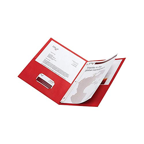 Office Depot Brand Twin-Pocket Portfolios With Fasteners Red Pack Of 10