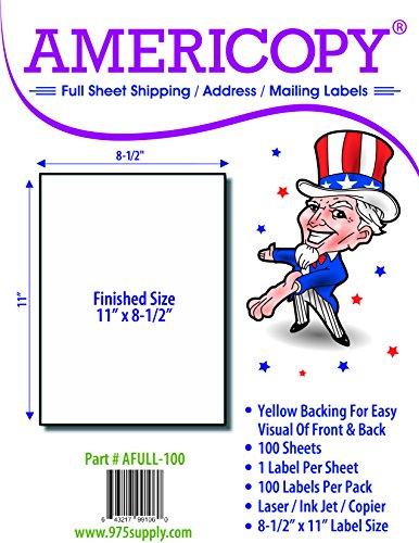 Americopy - Full Sheet - Address Labels - 8-12 x 11 - 100 Labels