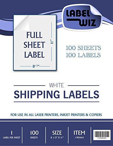Label Wiz Full Sheet shipping Label 85 x 11   100 Sheets