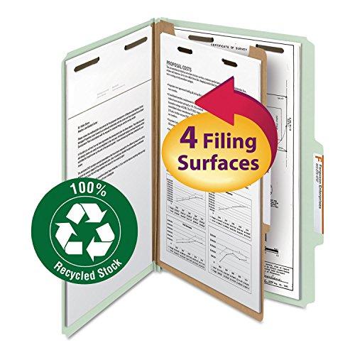 SMEAD Classification Folder 1 Divider 2-Inch 25 Cut Legal GrayGreen 10Box SMD18722