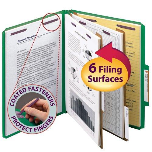 Smead Classification Folders 6-Section Green 25 Cut Letter 10ct