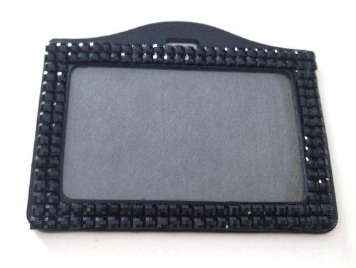 Rhinestone Crystal Bling Horizontal ID Badge Holder Black
