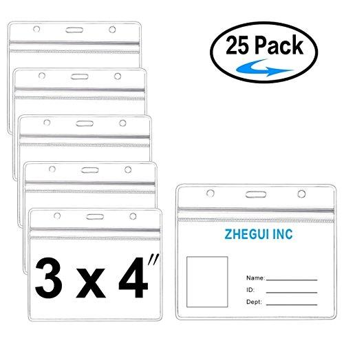 ID Badge Holder Horizontal Large 3x4 Clear Name Tag Card Holders Waterproof Zip Heavy Duty 25 Pack by ZHEGUI