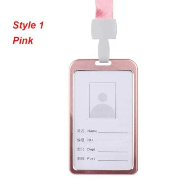 Work Card Holders with Rope Aluminium Alloy Card Holder Employee Name ID Card Cover Metal Work Certificate Identity Badge Vertical Pink