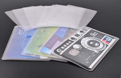 20PCS Transparent Plastic Vertical ID Credit Card Holder Protector Sleeve