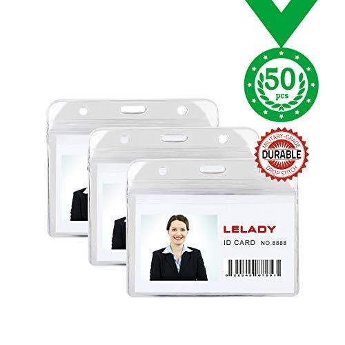 ID Badge Holder Plastic Horizontal ID Card Holder Plastic Name Badge Holder Work Badge Holder Access Card Clip Waterproof Type Resealable Zip 50 Pack-LELADY