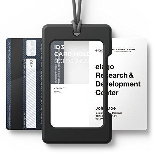 elago ID3 ID Card Holder Body-BlackStrap-Dark Grey - Two Card StorageLighter Silicone StrapLight Weight - for ID Cards Credit Cards