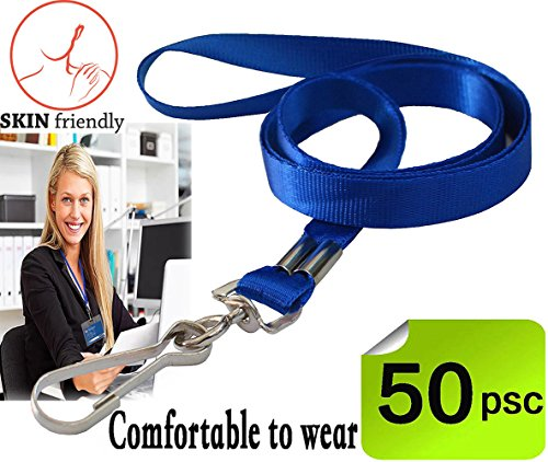 Bulk LanyardBlue Lanyards for Id badges lanyards with clip Nylon Neck Flat Lanyards with Swivel Hook clips Durably Woven Lanyards 50 pack for Office ID Name Tags and Badge Holders AttachmentBlue