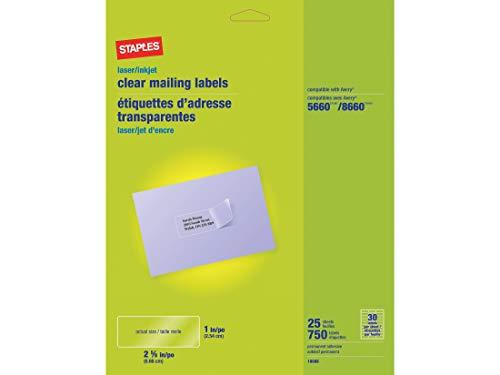 Staples 575748 LaserInkjet Address Labels 1-Inch x 2 58-Inch Clear 30 LabelsSheet