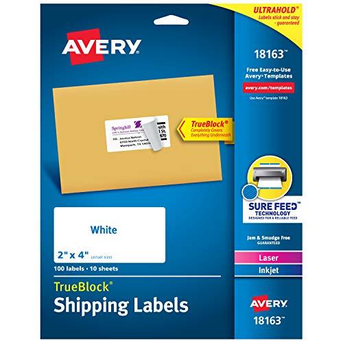Avery Shipping Address Labels Laser Inkjet Printers 100 Labels 2x4 Labels Permanent Adhesive TrueBlock 18163 White