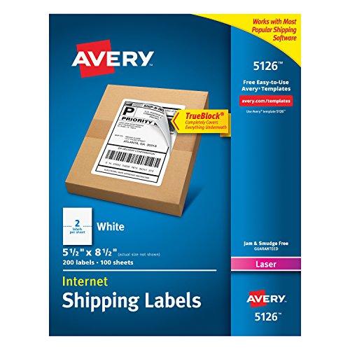 Avery Shipping Address Labels Laser Printers 200 Labels Half Sheet Labels Permanent Adhesive TrueBlock 5126 White