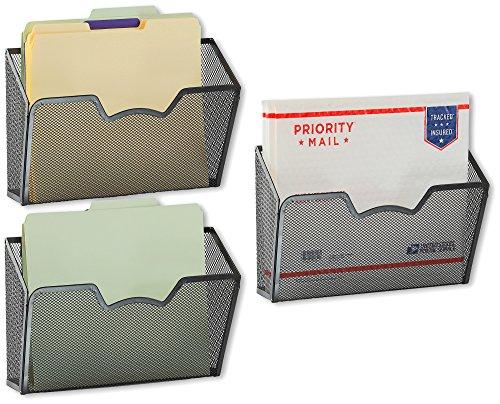 3 Pack - SimpleHouseware Wall Mount Single Pocket File Organizer Holder Black