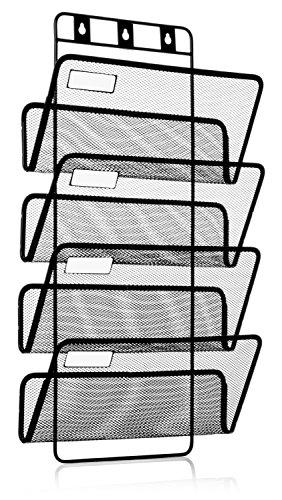 4-Pocket Hanging Wall File Organizer Folder Holder  Mounting Hardware  Labels