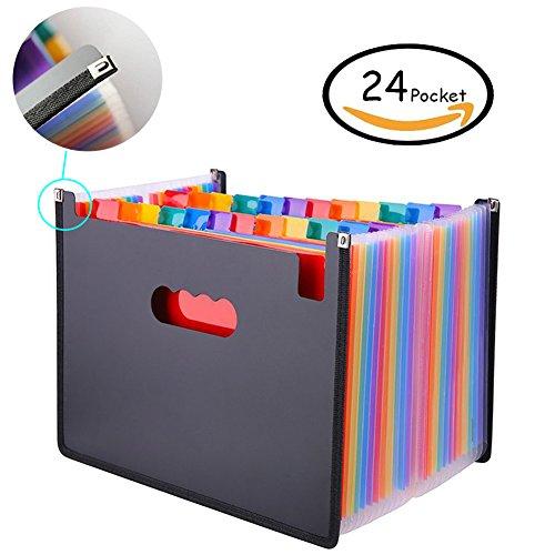 Oak-Pine 24 Pocket Expanding File Folder - Large Plastic Rainbow Expandable File Organizer Self Standing Accordion A4 Document Folder Wallet Briefcase Business Filing Box