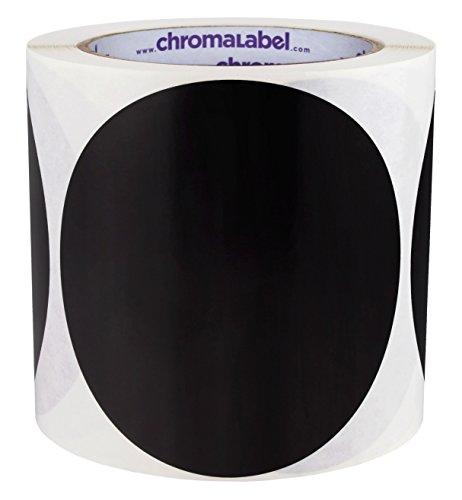 ChromaLabel 4 Inch Round Permanent Color-Code Dot Stickers 250 per Roll Black
