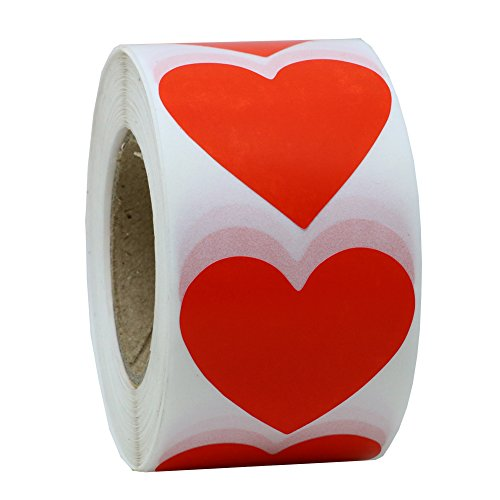 Hybsk Red Color Coding Dot Labels 15 Love Heart Shape Natural Paper Stickers Adhesive Label 500 Per Roll 1 Roll