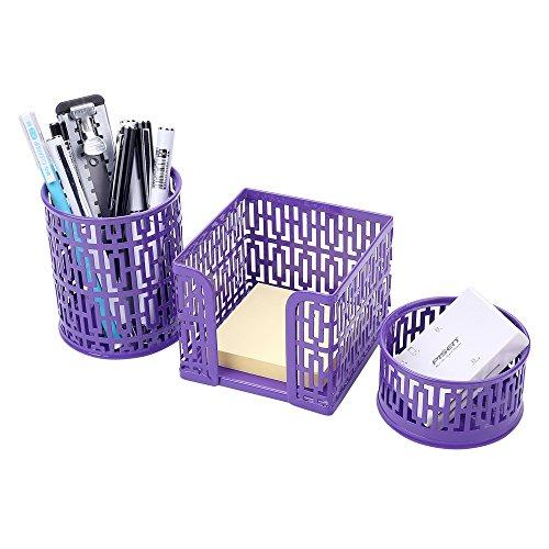 Crystallove Metal Mesh Office Desktop Supplies Organizer Purple-Style 1 Set of 3