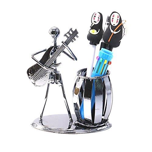 HUELE Metal Art Crafts Pencil Pen Holder for Desk Organizer Pen Stand Decorative Guitar Theme Desktop Supply Organizer