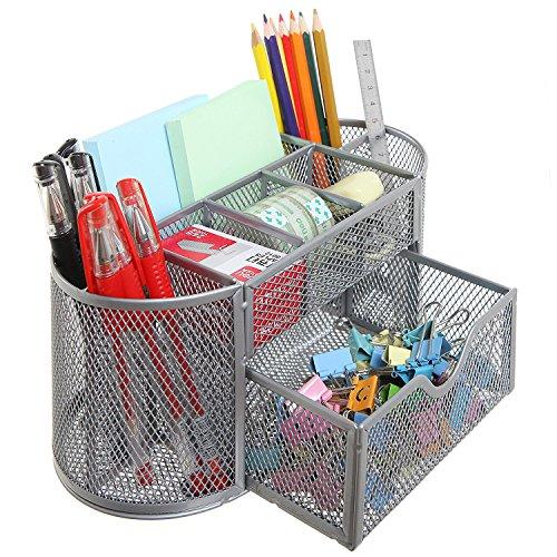 Metal Mesh Desktop Supplies Organizer Stationery School supplies Organizer Storage Holder Chrome