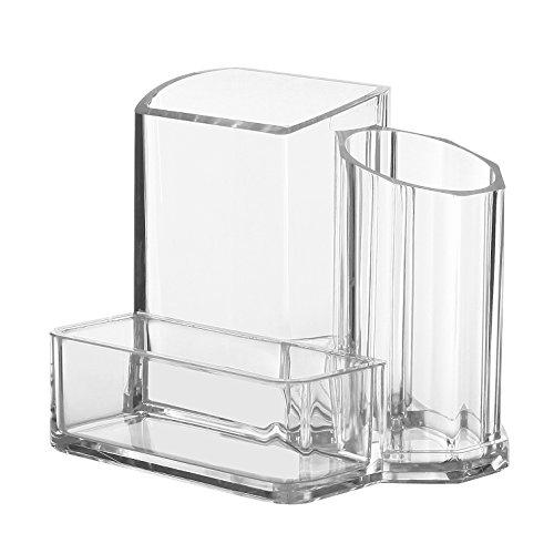 Modern Compact Clear 3 Compartment Office Supplies Desktop Organizer Caddy Pencil Holder
