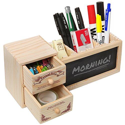 Natural Wood Office Supply Caddy  Pencil Holder  Desktop Stationary Organizer w Chalkboard - MyGift