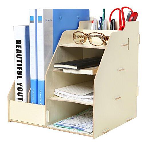 Wood Board Desktop Organizer Rack w 2 Document Magazine Slots Shelf Office Supply Holder Beige