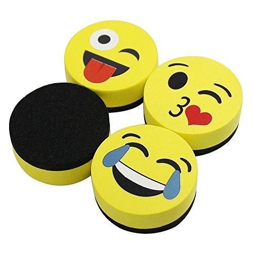 VIZ-PRO Magnetic Smiley Face Circular Whiteboard Eraser  4 Pack of 2 Dry Erase Erasers