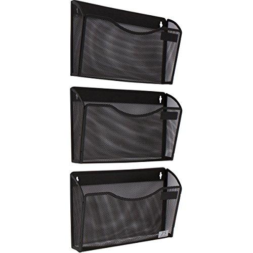 3 Pocket Wall Mount File Hanging Organizer Metal Mesh Office Home Folder Binder Holder Magazine Mail Sorter Rack  Hardware Black