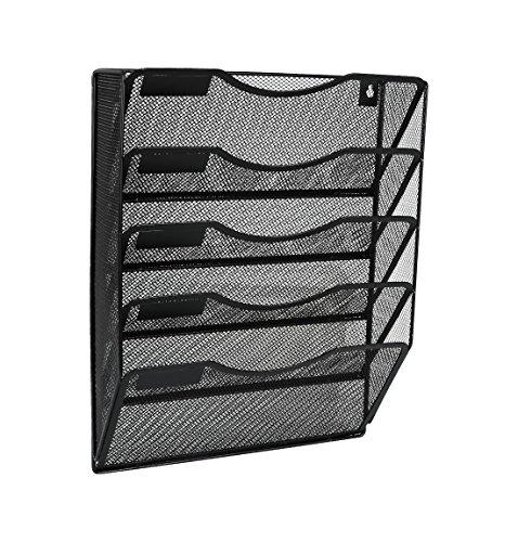 EasyPAG 5 Pockets Wall File Holder Organizer Hanging Magazine RackBlack