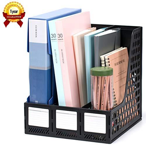 Leven Sturdy Magazine File Holder Desk Organizer File Folder for Office Organization and Storage with 3 Vertical Compartments File-Storage-Organizer-Magazine-Holder