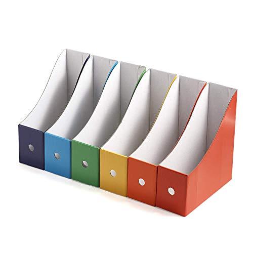Magazine File Holder Folder Holder Magazine Organizer Book Bins Set of 6 Multi-Color