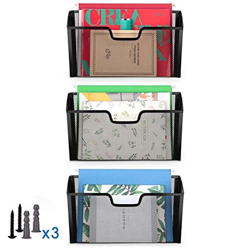 Simple Trending 3 Pockets Office Mesh Wall Mount Hanging File Holder OrganizerBlack