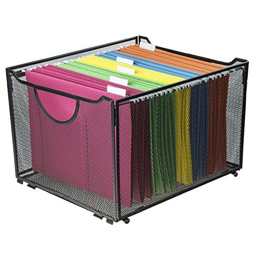 Modern Black Metal Mesh File BoxFoldable Storage CrateHome Office Folder Holder Organizer Rack