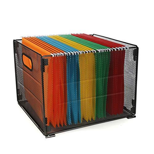 Samstar Hanging File Folder Box Mesh Metal File Organizer Box Hanging File Crate Folder Holder Storage Box Letter Size Black