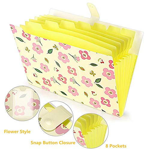 1PC Fresh Floral Filing Production Folder Multi-Function 8 Pockets A4 File Expansion Document File Folder School OfficeWaterproof Plastic Flower Style 8 Pockets Yellow