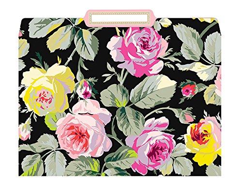 Anna Griffin Grace Black Floral Decorative File Folders Set of 12
