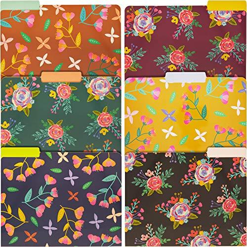 Paper Junkie 12-Pack Vintage Floral File Folders Letter Size 6 Designs