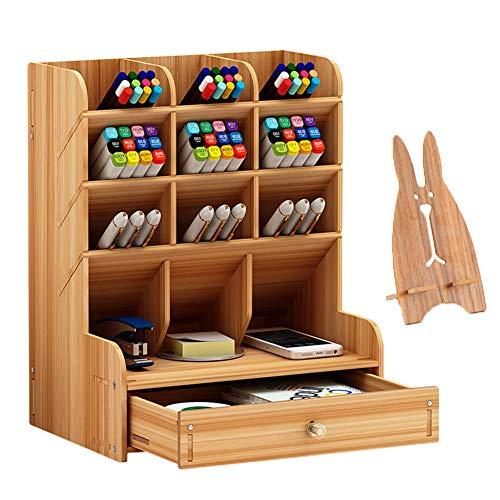 Marbrasse Wooden Desk Organizer Multi-Functional DIY Pen Holder Box Desktop Stationary Easy AssemblyHome Office Supply Storage Rack with Drawer B11-Cherry Color