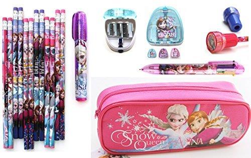 Disney Frozen 18pcs Deluxe School Stationery Kit Pencil Case Pen Eraser Sharpener and Stamps