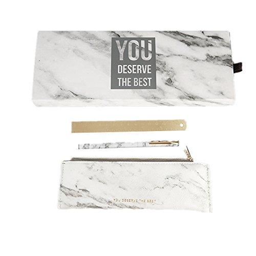 MultiBey Marble White Stationery Set Metal Magnet Gel Roller Pen Pen Bag Pouch Brass Ruler Gift Kit 3 Items per Set