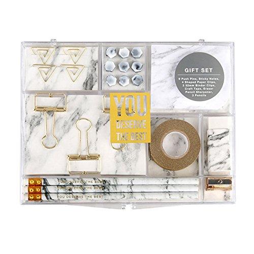 MultiBey Stationery Gift Set Marble White Students Stationery Gift Kit Set of 24 pcs