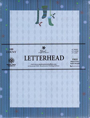 Blue Stockings Holiday Letterhead Stationery Inkjet Laser Copier