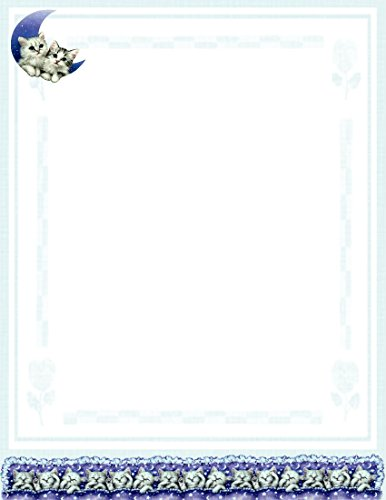 NEW Kitten On The Moon Letterhead Stationery Paper 26 Sheets