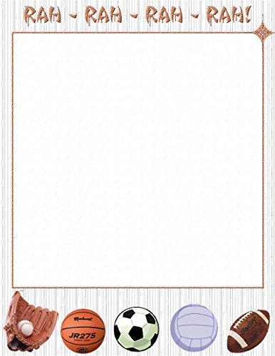 NEW Rah Rah Sports Letterhead Stationery Paper 26 Sheets