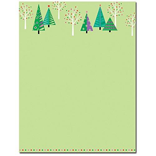 Sparkle Trees Christmas Holiday Stationery Letterhead