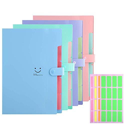 Expanding File Folders 5 Pockets Plastic Expandable File Jackets A4 Letter Size4 Color Accordion Folder Document Holder for School Office Travel