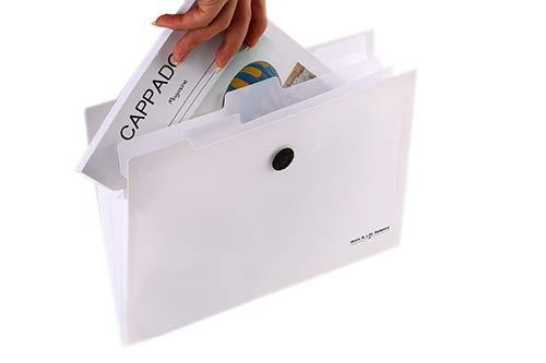 U-Fan Expanding File Folders 5 Pockets A4 Letter Size Accordion Document Organizer Folder Portable Expandable Filing BoxPlastic Accordian File Bag Wallet Document Storage BoxWhite